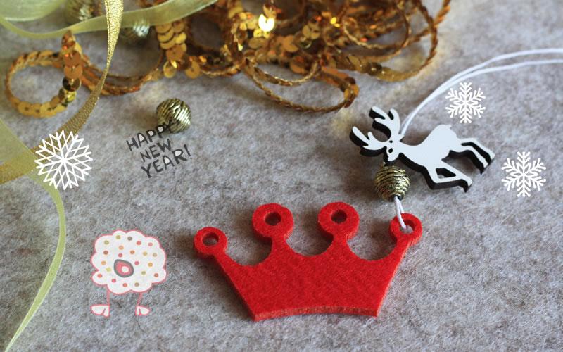 Corona de Rey de fieltro grueso rojo. Compra fieltro en formas para la Navidad