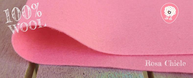 fieltro de lana 100% rosa chicle