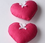 Corazón 3D Fucsia De Fieltro