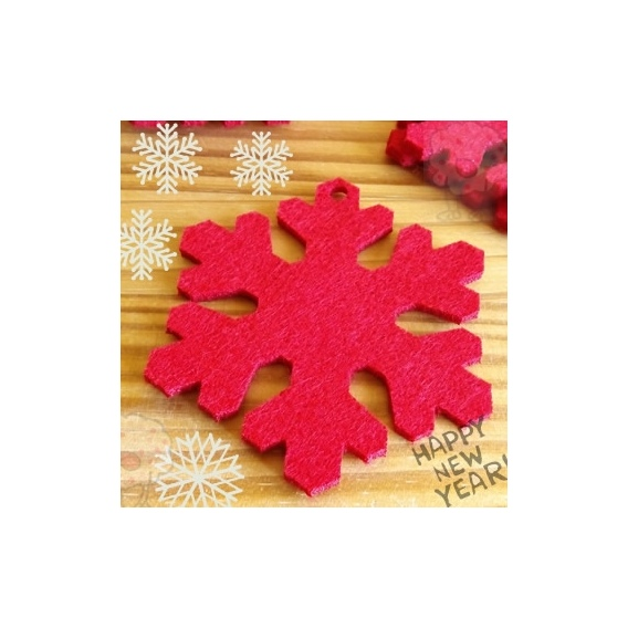 Estrella de Navidad en fieltro Rojo