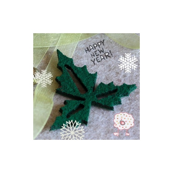 Muérdago de Navidad en fieltro Verde