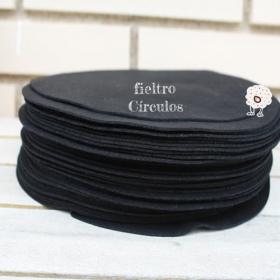 Círculos de Fieltro Negro 22cm