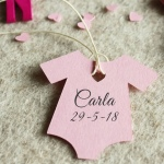 Etiquetas de Bebé Bautizo Impresas Trajecito  Rosa