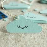 Etiquetas de Bebé Bautizo Impresas Nube Azul