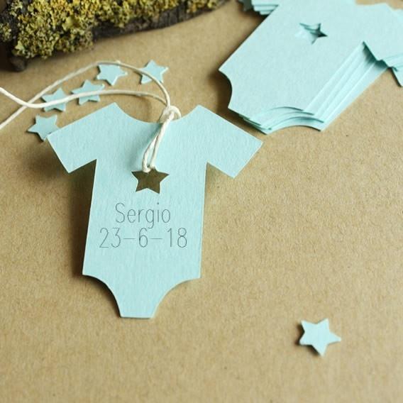 Etiquetas de Bebé Bautizo Impresas Trajecito Azul