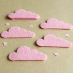 8 Formas Fieltro Nubes Rosa Bebé