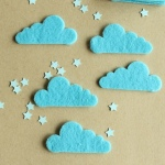 8 Formas Fieltro Nubes Azul Bebé