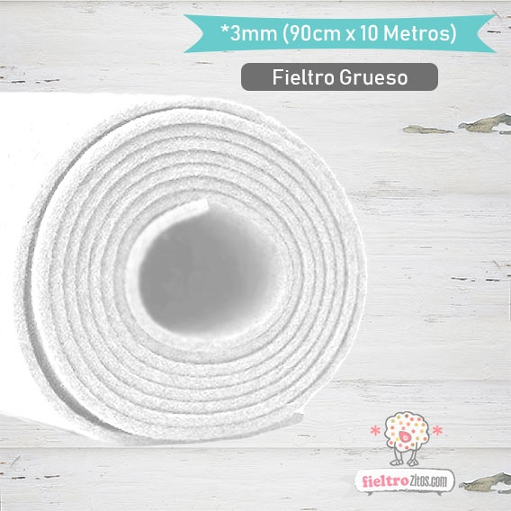 Fieltro Rollo Blanco 3mm.