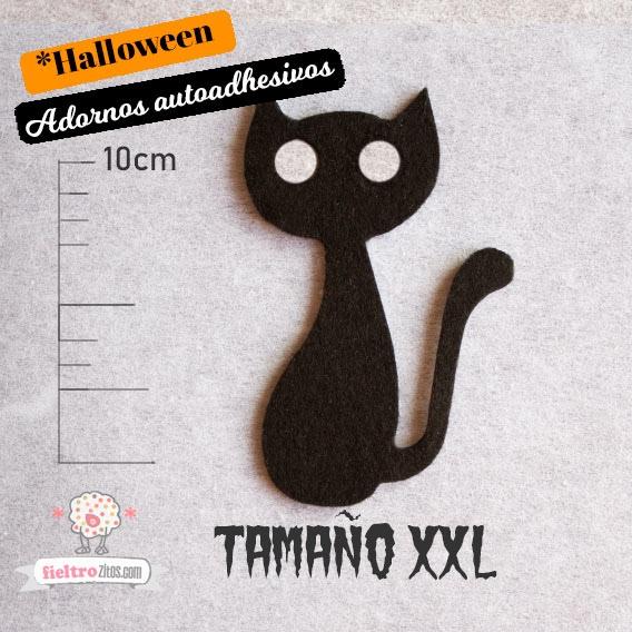 Adornos Gato Tuerto Negro de Fieltro Halloween