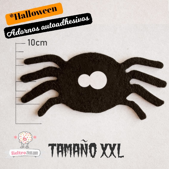 Adornos Arañas Negras de Fieltro Halloween