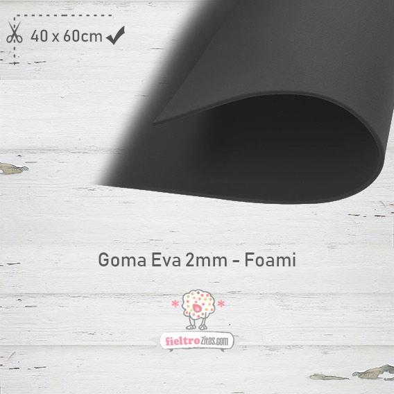 Goma Eva Negra 40x60cm y 2mm.