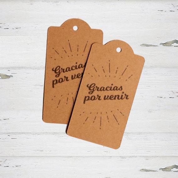 Etiquetas Impresas kraft Gracias por Venir