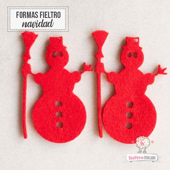 Muñecos Nieve Fieltro Rojo Navidad