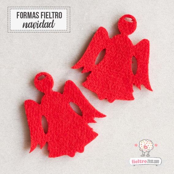Ángeles de Navidad en fieltro rojo
