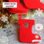 Botas de Navidad en fieltro Rojo