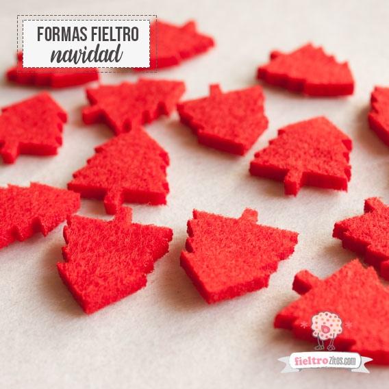 Árbolitos Adornos Fieltro Rojo