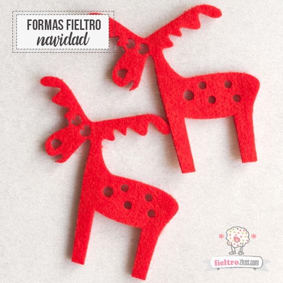 Renos de Navidad en fieltro Rojo