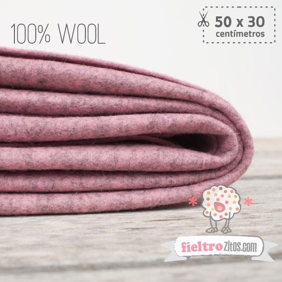 Fieltro 100% Lana Jaspe Rosa Vintage (50x30cm)