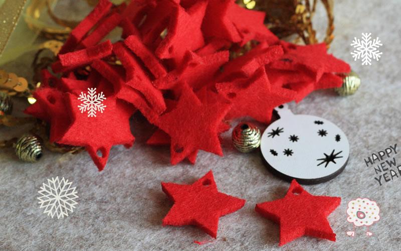 5 Estrellas para decorar tu Navidad en fieltro grueso rojo