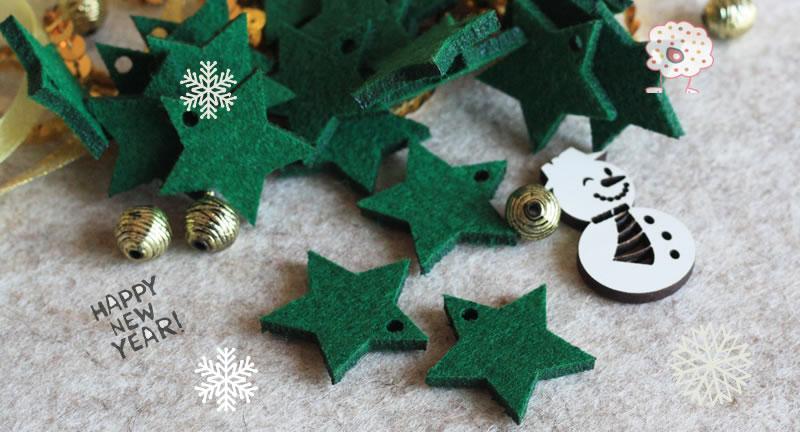 5 Estrellas de fieltro Verde musgo de 3cm