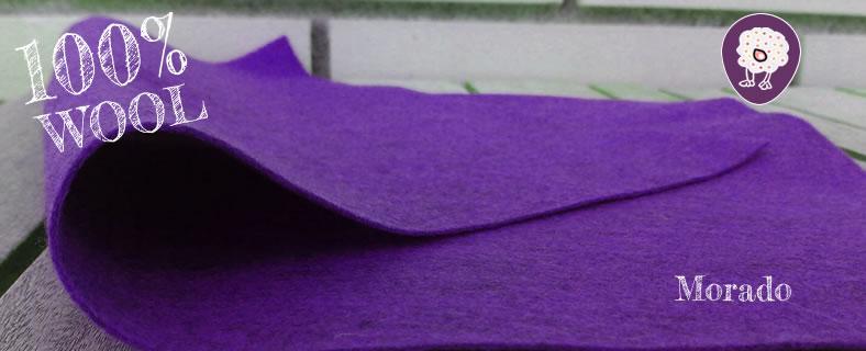 fieltro morado de lana 100%