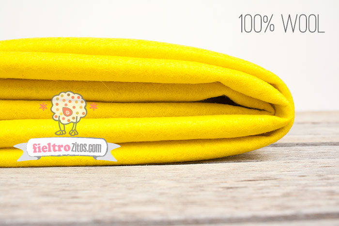 Fieltro de lana 100% amarillo