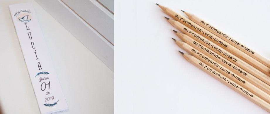 Detalles de comunión - Lápices grabados y cajita personalizada